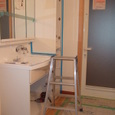 洗面化粧台の施工状況