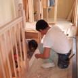 階段手摺りの施工状況